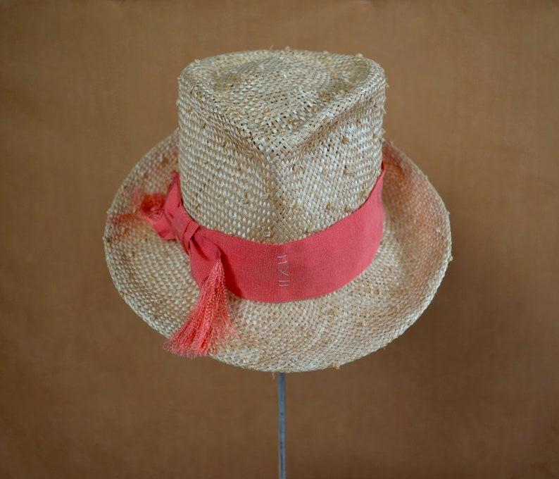 Fedora Hat Summer Hat Kentucky Derby Hat Sun Hat Knot Straw Fedora Hat with Coral Petersham Ribbon Elegant Hat Straw Fedora Hat