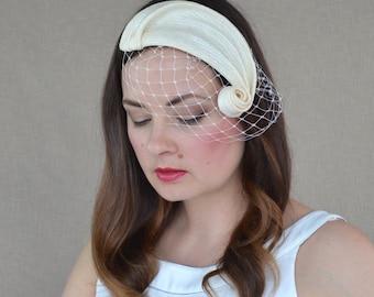 Pari-sisal Swirl Bridal Fascinator with Birdcage veil - Bridal Fascinator - Cream Cocktail Hat - Birdcage Veil Fascinator - Ivory Fascinator