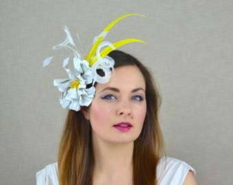 White Fascinator with Leather Flower and Yellow Feathers - White and Lemon Yellow Fascinator - Wedding Guest - Bidal Fascinator