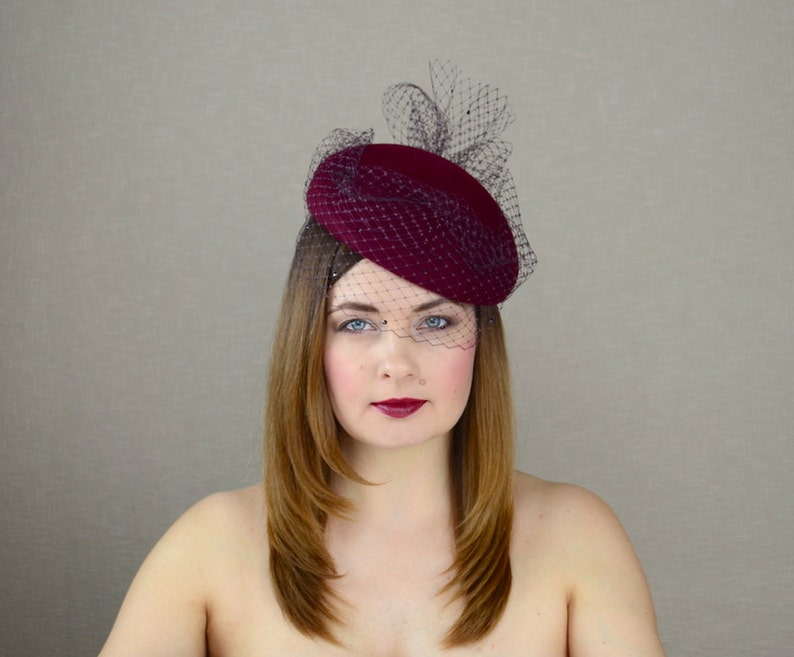 Burgundy Pillbox Hat with Birdcage Veil Red Wine Fascinator  217d20531fd