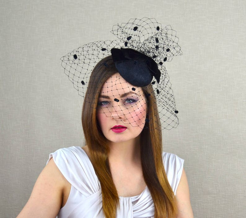 35772a7277d Black Pillbox Hat with Birdcage Veil and Velvet Bow Black
