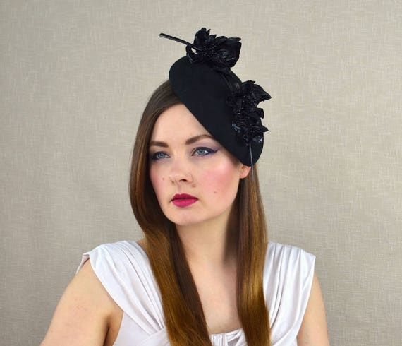 72de02ec9d810 Black Felt Pillbox Hat Fascinator with Leather Flowers Black