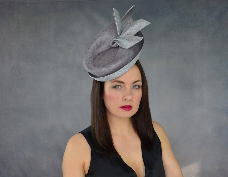 17d27ebfb15ce Silver and Grey Saucer Hat with Sculpted Brim Dove Grey and