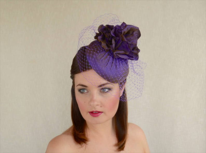 165221fb2c46a SALE - Luxurious Purple Silk Pillbox Hat with Silk Flowers and Birdcage  Veil - Purple Pillbox Hat - Wedding - Ascot - Mother of the Bride