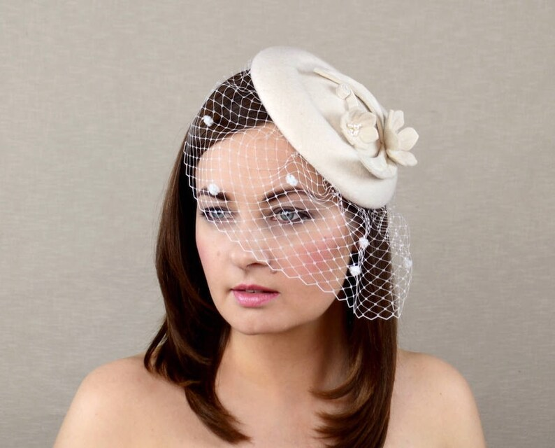 320a7986 Ivory Pillbox Hat with Birdcage Veil Wedding Headpiece | Etsy