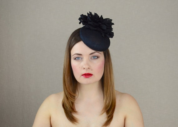 Black Pillbox Hat with Silk Flower Black Fascinator Black  adca9cdac2e
