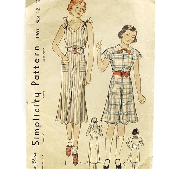 RARE Vintage 1930's Sun Dress Pattern Junior Dress