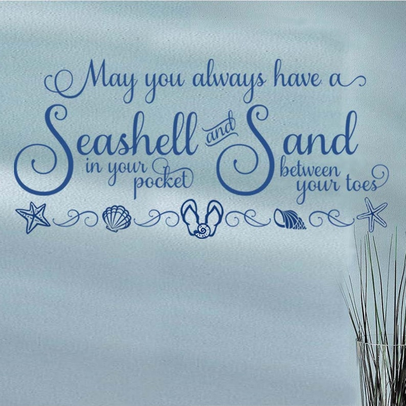 Seashells & Sand Vinyl Wall Decal Beach House Cottage image 0