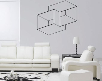 Optical Illusion Nested Cubes vinyl wall decal geometric art removable wall decor (ID: 151001)