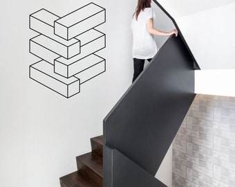 Optical Illusion - Endless stack vinyl wall decal geometric art removable wall decor