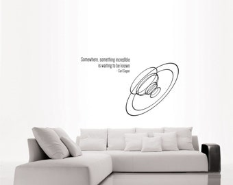 Science Art - Carl Sagan inspiration quote and a radio telescope dish wall decal removable wall art for your educational decor (ID: 121062)