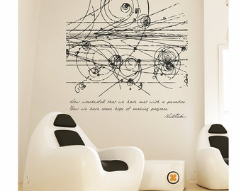 Science art physics Niels Bohr's inspirational quote and particles' collision EXTRA LARGE vinyl wall decal for science decor (ID: 121015)