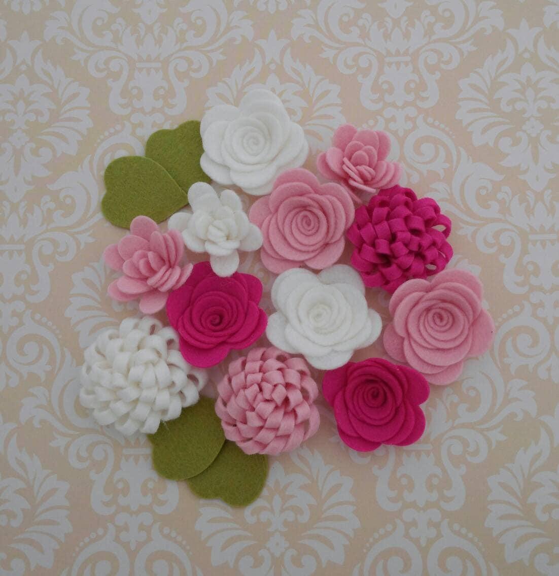 Handmade Wool Felt Flowers Carnation Pink Shocking Pink And Etsy
