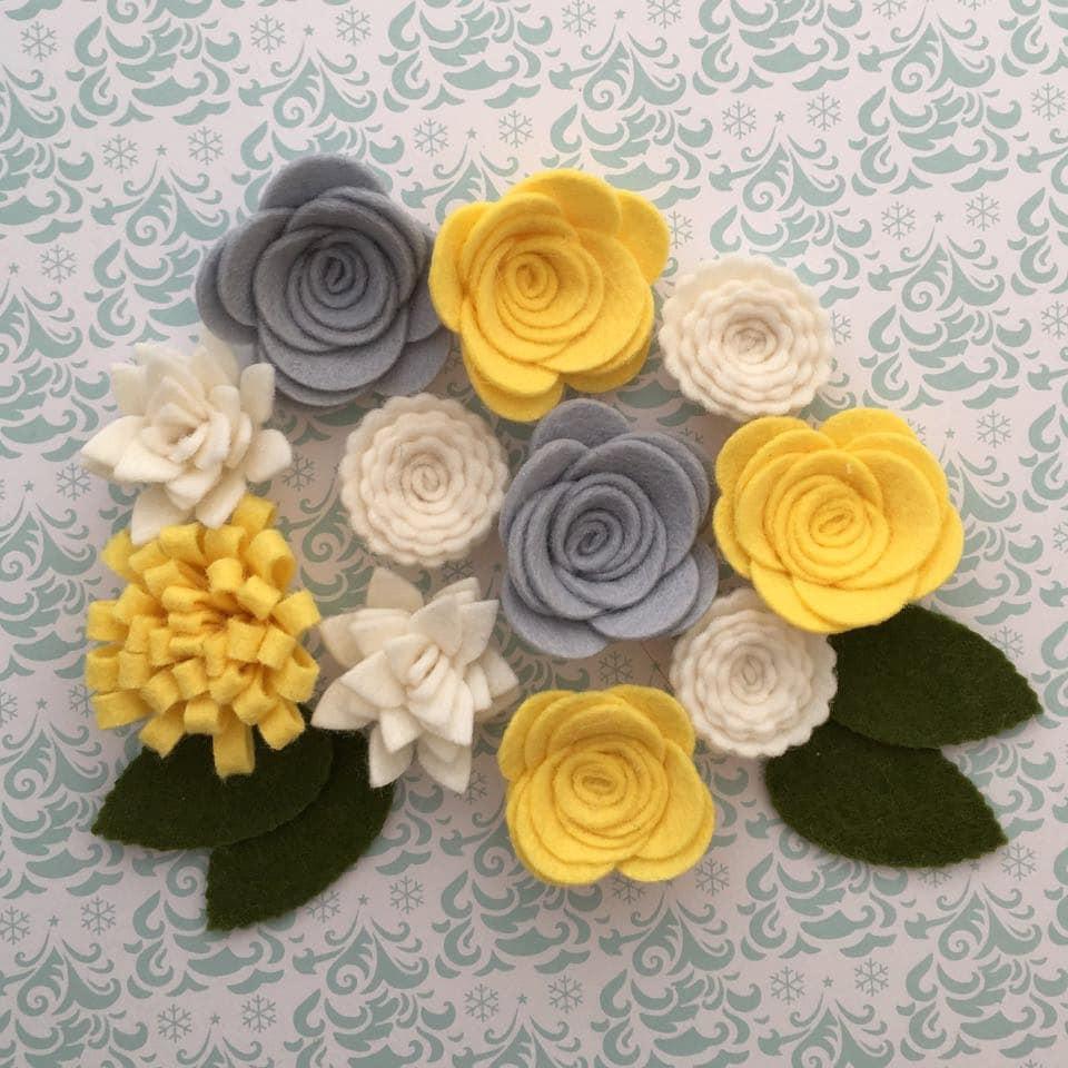 Handmade Wool Felt Flowers Grey Yellow And White Etsy