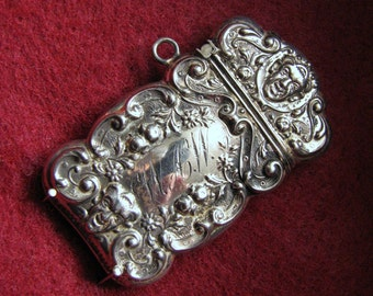 "VICTORIAN VESTA/Match Case -- Repousse in Sterling Silver with Mysterious Face, Monogrammed WAW, 15.9g, 2-3/16"" Long"