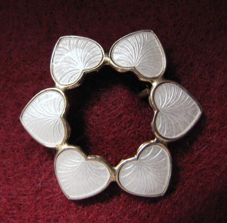 White Version Signed VOLMER BAHNERDenmark GUILLOCHE Enamel Heart Circle Brooch in Sterling Silver with Gold Wash