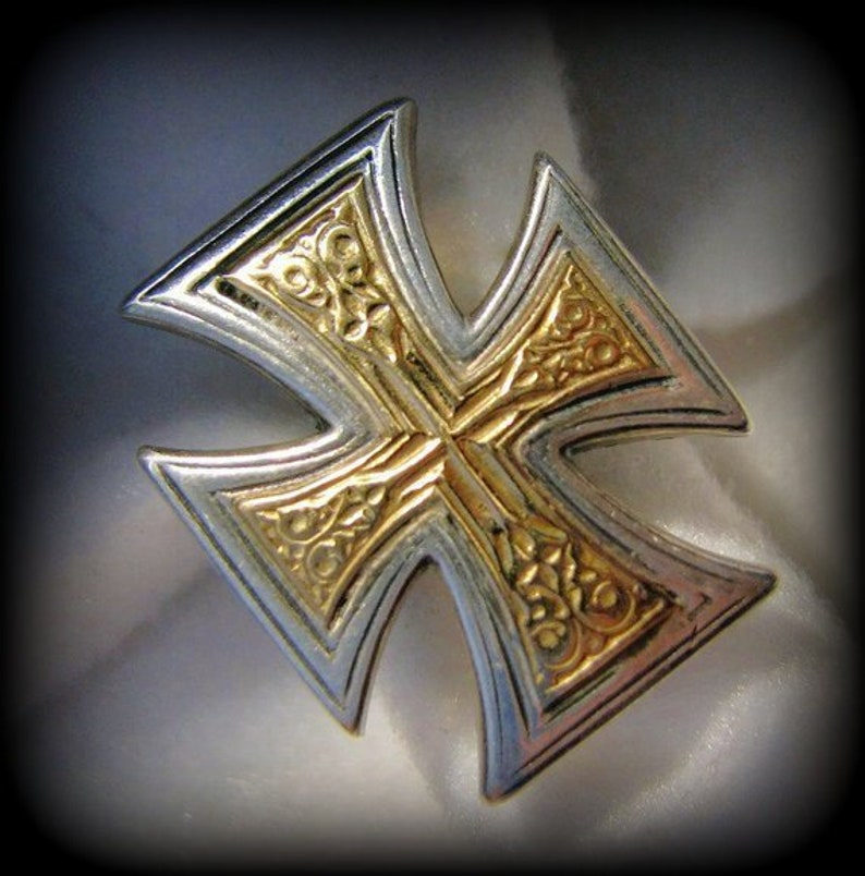 21 Grams Vintage GEROCHRISTO Solid 18k Yellow Gold and Sterling  Byzantine CROSS Ring Size 7-34 Excellent Condition Solid Gold