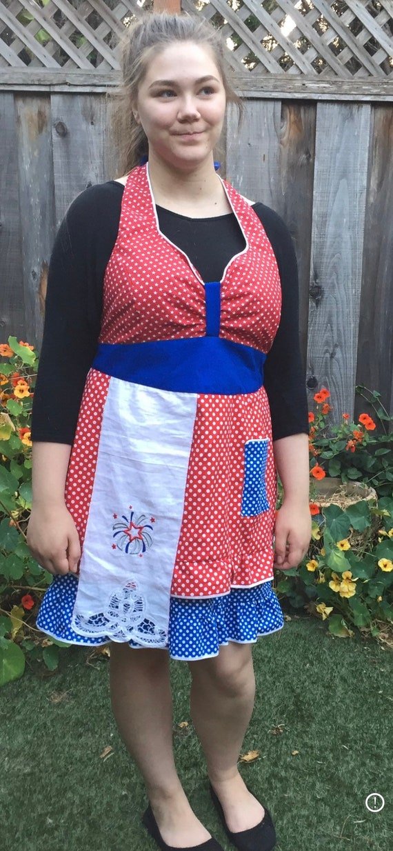 Women's Red White and Blue Handmade Apron