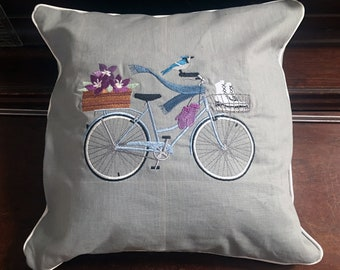 Handmade pillow cover with embroidered bicycle