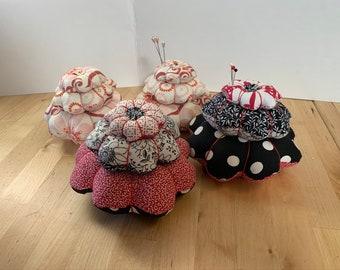 Tiered Flower Shape Pincushion - Fun Black/White/Red combo fabrics - Handmade