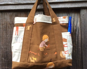 Hand Made Cotton Tote Bag ~ Fully Lined ~ Small