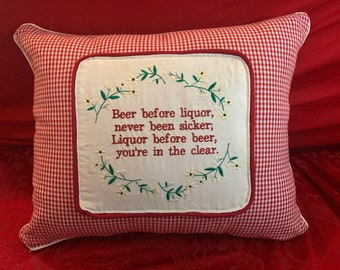 Customized Handmade pillow cover with embroidered funny saying