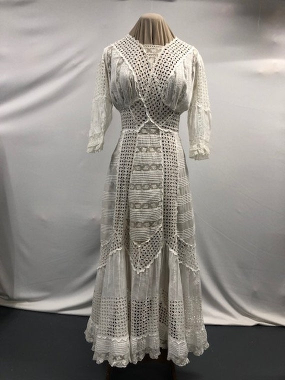 Antique 1910 Edwardian Eyelet Tea Gown