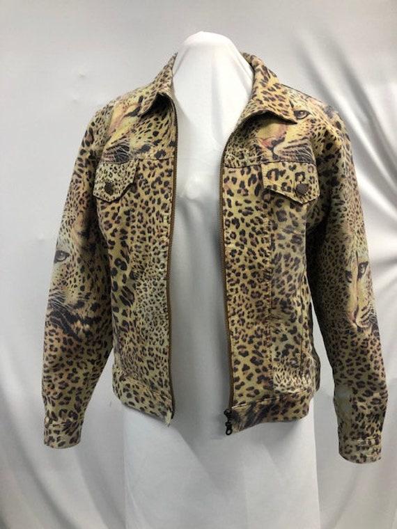 Leather leopard print jacket.