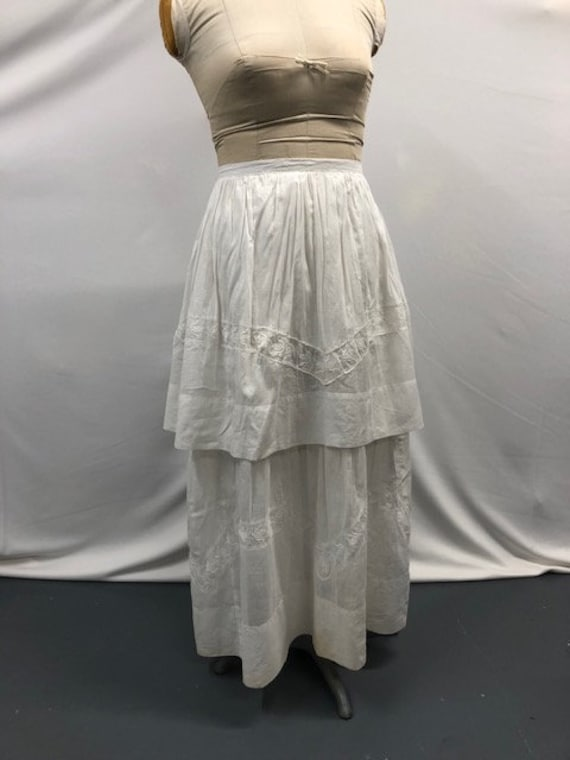 Vintage Antique Edwardian Two Tiered Cotton Skirt