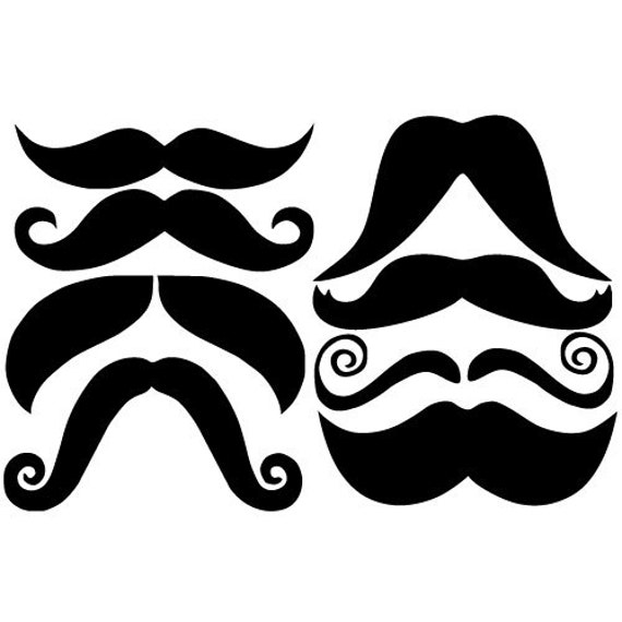 16 mustache vinyl decal stickers for mugs cups laptops