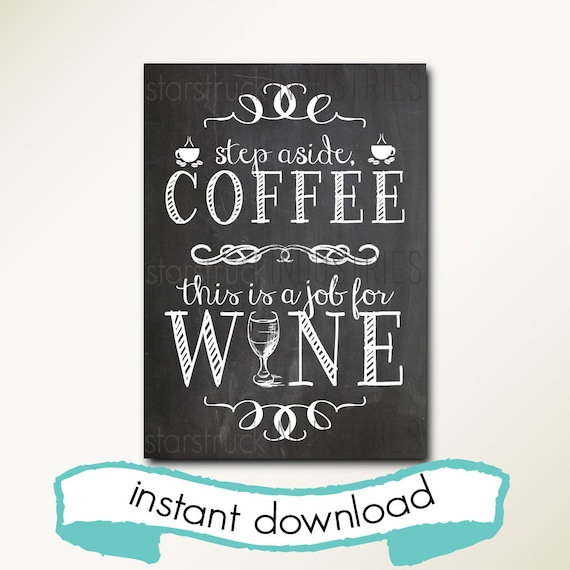 Coffee Wine Instant Download Printable Chalkboard Art Etsy