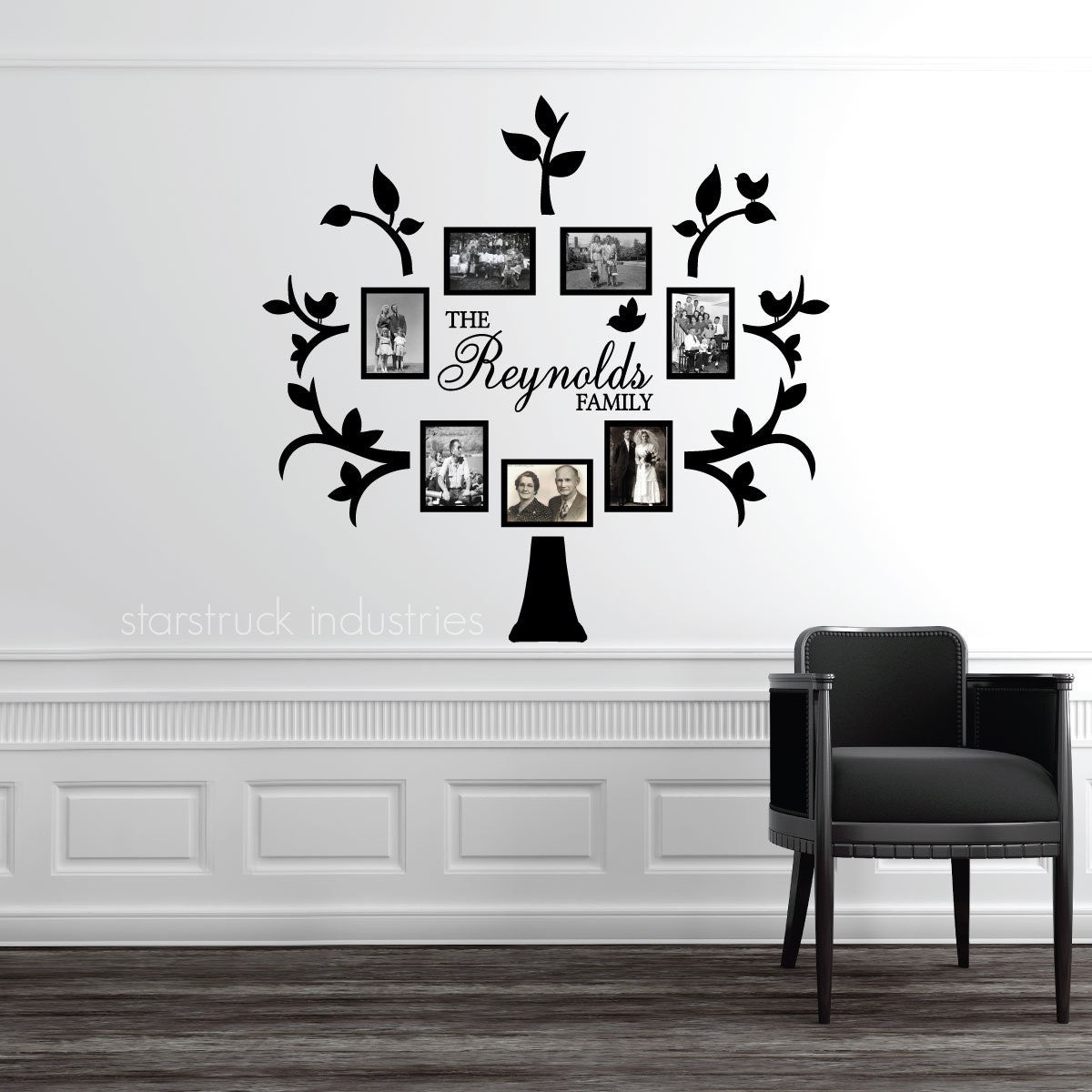 Personalized Last Name Family Tree Wall Decal Photo Collage Etsy