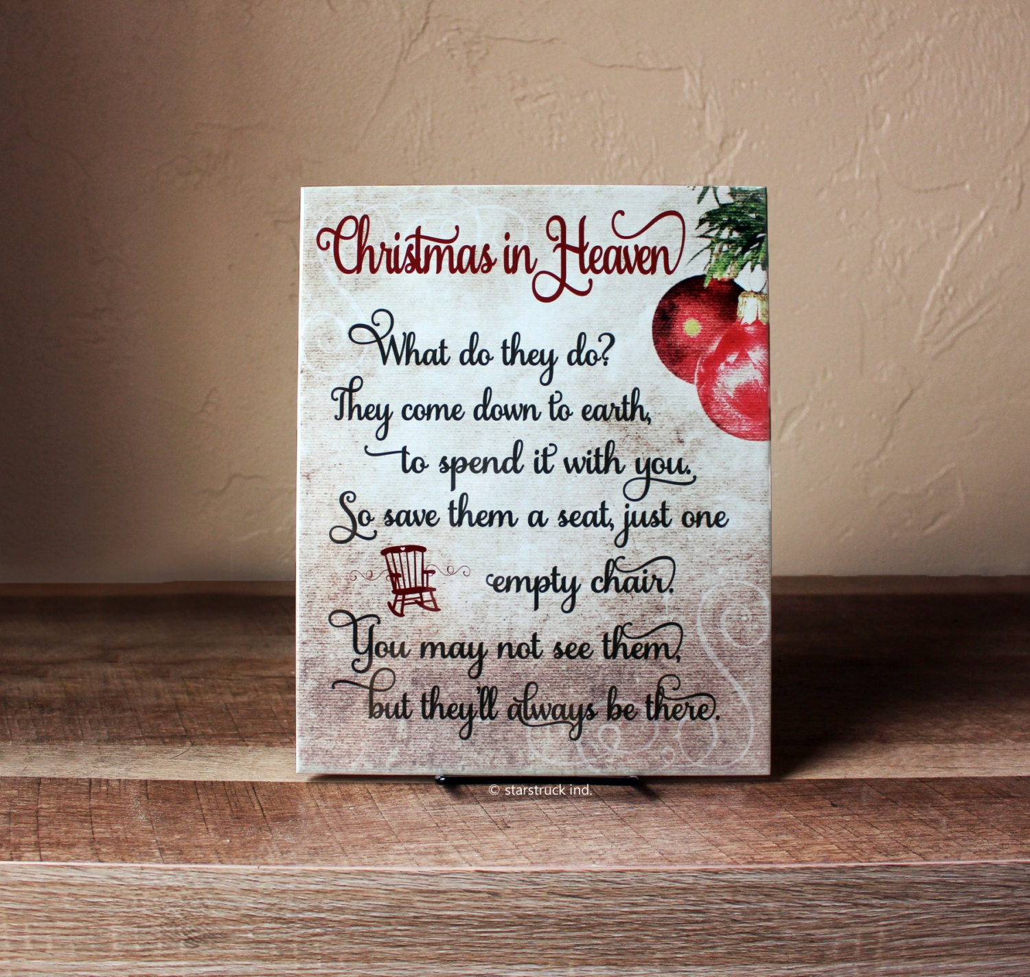 Christmas In Heaven Sign 8x10 Poem With Chair What Do They