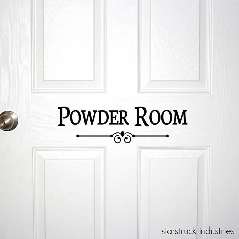 Powder Room Door Or Wall Decal Decorative Powder Room Sign Bathroom Bath Room Guest Shower Decor Wall Art Restroom Decoration Door Decal