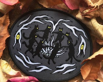 "Cat Sabbath - Blackwater/Riot The Familar collection - 4.5"" oval iron on patch"