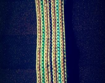 Turquoise & Silver Beaded Bracelet