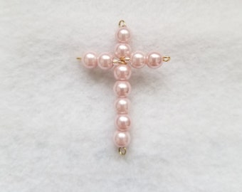 Shell Pink Cross Pendant Necklace