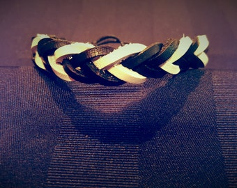 Black & White Leather Bracelet
