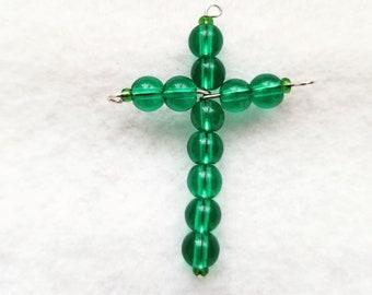 Dark Green Glass Bead Cross