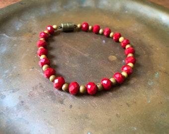 Bracelet - Ruby Czech Glass and Natural Brown Jasper