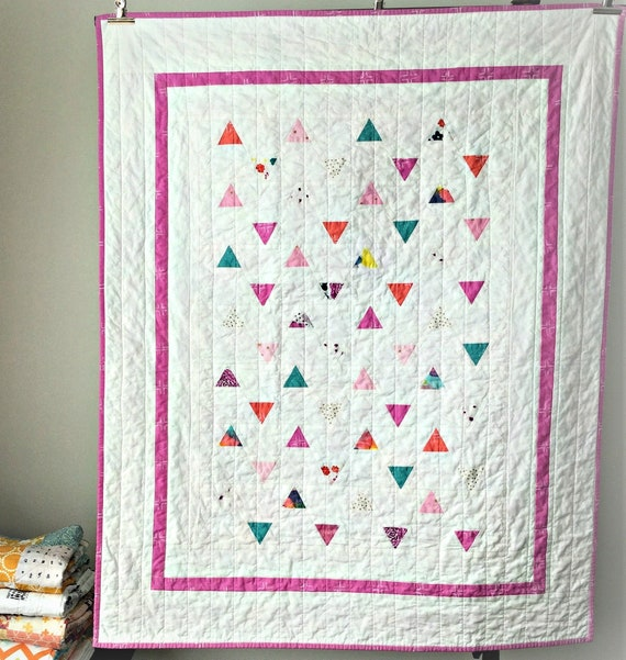 Bright triangle quilt girl modern
