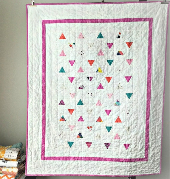 triangle cozy blanket nursery unisex plush bedding modern girl geometric BabyLap Quilt Bold Pink- Toddler comforter blankie