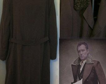 Men's custom made winter coat x extra large 1950s style Russian wool trench coat Persian lamb collar