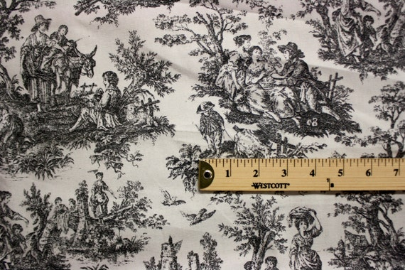 Black And White Scene Print Pattern Linen Fabric Per Yard