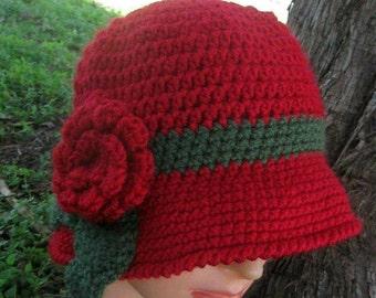 1cd6602630a Crochet Red Cloche Hat