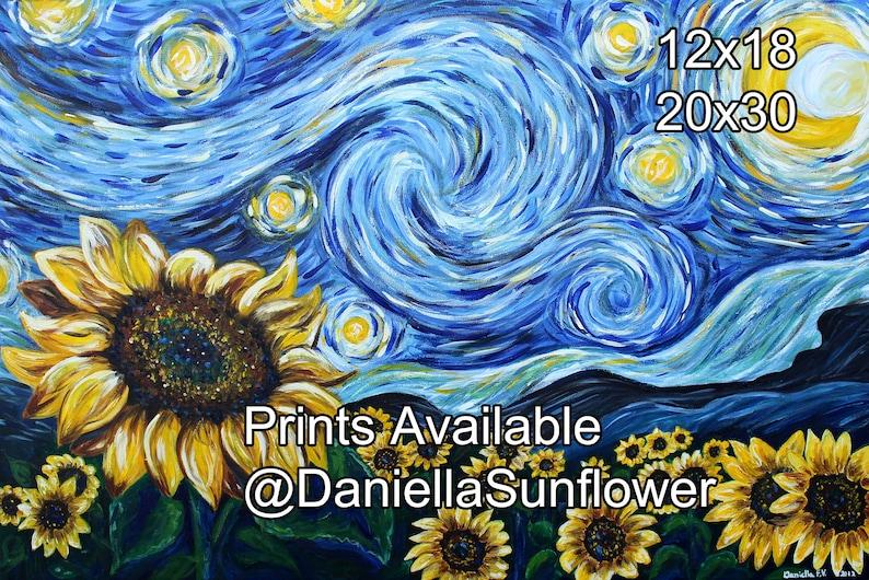 Sunflower Starry Night Prints by Daniella Sunflower Size: image 0