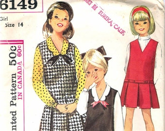 Vintage 1965 Simplicity 6149 Girls' One-Piece Jumper & Blouse Sewing Pattern Size 14 Breast 32""