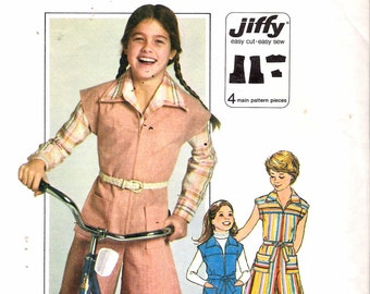 "Vintage 1977 Simplicity 8051 Girl's Jiffy Pantdress Sewing Pattern Size 10 Breast 28 1/2"" UNCUT"