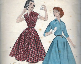 """Vintage 1954 Butterick 7086 Quick & Easy Teen-Age Casual Dress Sewing Pattern Size 12 Bust 30"""""""