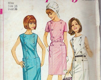 Vintage 1966 Simplicity 6532 Mod One-Piece Dress Sewing Pattern Size 16 Bust 36""